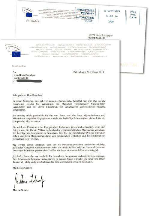 Post vom EU-Parlamentspräsidenten…